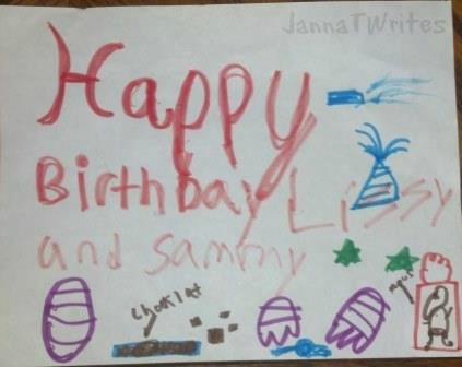 Kitty birthday greetings, courtesy of younger son
