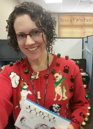 I won the ugly sweater contest and received a generous gift card. Now that I think about it, I hope the votes were just for the sweater and not my hair!